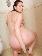 Seductive fresh fatty rams dildo down her snatch