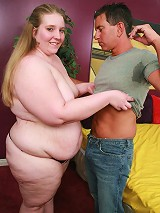 Sexy young bbw Jessie showing off her huge folds of fat and takes doggy style banging in her cooze