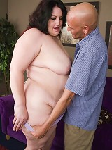 Plumper Matalla gives off a blowjob before she gets screwed doggy style on the living room floor